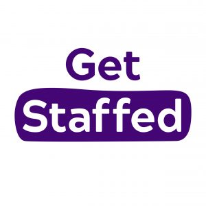 White Get Staffed Logo